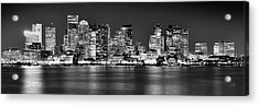 Boston Skyline At Night Panorama Black And White Acrylic Print