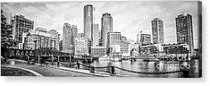 Boston Skyline Black And White Panoramic Picture Acrylic Print