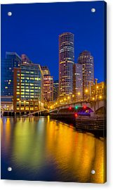 Boston Skyline Blue Hour Acrylic Print by Susan Candelario