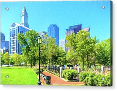 Boston Skyline From Columbus Park Acrylic Print