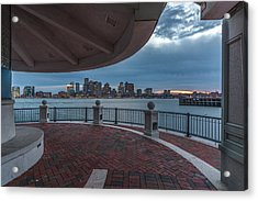 Boston Skyline From Piers Park  East Boston Ma Acrylic Print