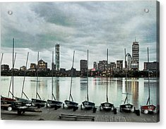 Boston Skyline From The Mit Sailing Pavilion - Cambridge Ma Acrylic Print