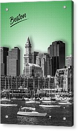 Boston Skyline - Graphic Art - Green Acrylic Print