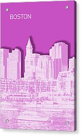Boston Skyline - Graphic Art - Pink Acrylic Print