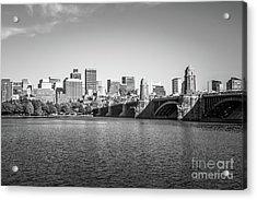 Boston Skyline Longfellow Bridge Black And White Photo Acrylic Print