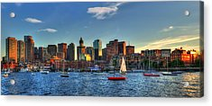 Boston Skyline Panoramic - Boston Harbor Acrylic Print by Joann Vitali