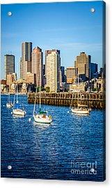 Boston Skyline Photo With Port Of Boston Acrylic Print