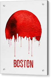 Boston Skyline Red Acrylic Print by Naxart Studio