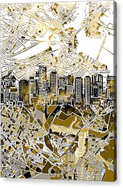 Boston Skyline Sepia Acrylic Print