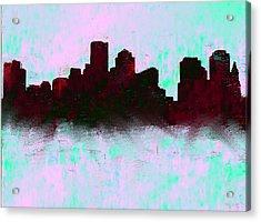 Boston Skyline Sky Blue  Acrylic Print