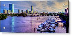 Boston Skyline Sunset Acrylic Print