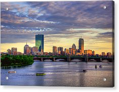 Boston Skyline Sunset Over Back Bay Acrylic Print by Joann Vitali