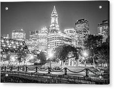 Boston Skyline With Christopher Columbus Park Acrylic Print