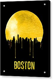Boston Skyline Yellow Acrylic Print by Naxart Studio