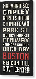 Boston Subway Stops Poster Acrylic Print