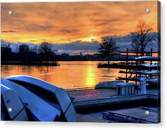 Boston Sunset On The Charles River With Citgo Sign Acrylic Print by Joann Vitali
