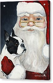 Boston Terrier With Santa Acrylic Print by Charlotte Yealey