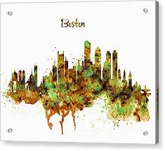 Boston Watercolor Skyline Acrylic Print