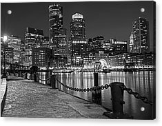 Boston Waterfront Boston Skyline Black And White Acrylic Print