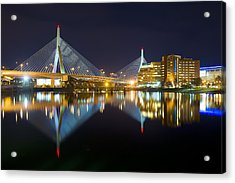 Boston Zakim Bridge Reflections Acrylic Print by Shane Psaltis