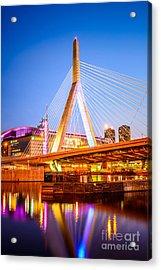 Boston Zakim Bunker Hill Bridge At Night Photo Acrylic Print by Paul Velgos