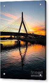 Boston Zakim Bunker Hill Bridge At Sunset Acrylic Print