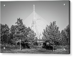 Boston Zakim Bunker Hill Bridge Black And White Photo Acrylic Print