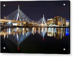 Boston Zakim Memorial Bridge Nightscape II Acrylic Print by Shane Psaltis
