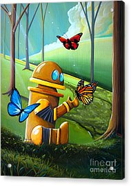 Bot And The Butterflies Acrylic Print by Cindy Thornton