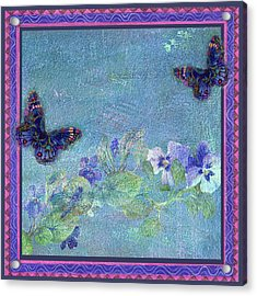 Botanical And Colorful Butterflies Acrylic Print