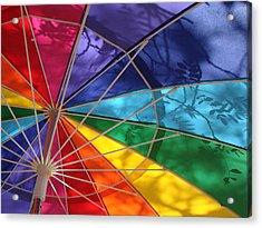 Botanical Shadows On Umbrella Acrylic Print by Kelly Miller