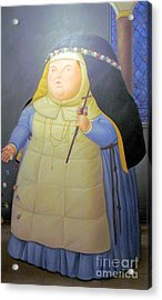 Botero Nunn In Blue Acrylic Print by Ted Pollard