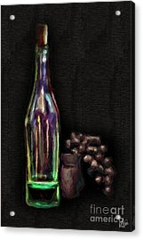 Acrylic Print featuring the photograph Bottle And Grapes by Walt Foegelle