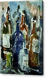 Bottle In A Dusty Cellar Acrylic Print by Wilfred McOstrich
