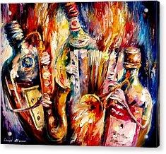 Bottle Jazz Acrylic Print by Leonid Afremov