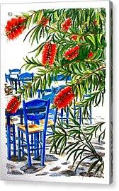 Bottlebrush And Blue Acrylic Print by Yvonne Ayoub