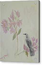 Acrylic Print featuring the painting Bougainvillea And Mockingbird by Donna Walsh