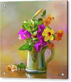 Bougainvilleas In A Green Jar. Acrylic Print