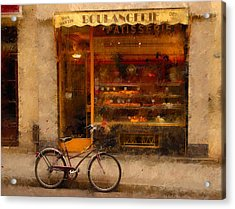 Boulangerie And Bike 2 Acrylic Print by Mick Burkey