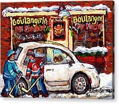 Boulangerie Mr Pinchot Rues De Brebeuf Et Marianne Montreal Storefront Winter Hockey Scene C Spandau Acrylic Print