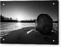 Boulder At Sunset Acrylic Print