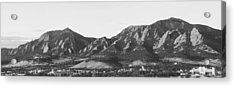 Boulder Colorado Flatirons And Cu Campus Panorama Bw Acrylic Print