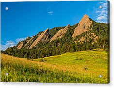 Boulder Colorado Flatirons Sunrise Golden Light Acrylic Print