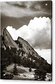 Large Cloud Over Flatirons Acrylic Print by Marilyn Hunt