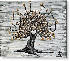 Acrylic Print featuring the drawing Boulder Love Tree by Aaron Bombalicki