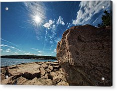 Acrylic Print featuring the photograph Boulders Meet Ocean by David A Lane