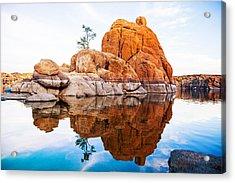 Boulders With Tree In Watson Lake - Arizona Acrylic Print by Susan Schmitz