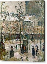 Boulevard De Rocheouart In Snow Acrylic Print by Camille Pissarro