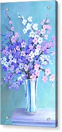 Acrylic Print featuring the painting Bouquet In Silver Vase by Marta Styk