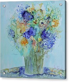 Acrylic Print featuring the painting Bouquet Of Blue And Gold by Joanne Smoley
